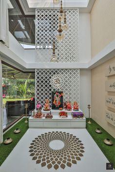 Bungalow House Design, House Front Design, Home Design Plans, Home Interior Design, Interior Decorating, Temple Design For Home, Rammed Earth Homes, Mandir Design, Pooja Room Door Design