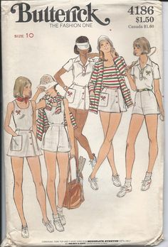 1980s Misses' TENNIS SPORTS Patterns via Etsy.