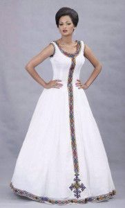 For inspiration only. Add your fringes and ribbon of blue. Beautiful Ethiopian Dress I love it
