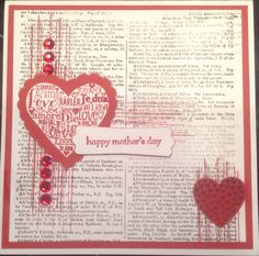 Mother's Day card - stampin up dictionary stamp, language of love, hearts a flutter and gorgeous grunge.