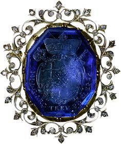 ALBION ART Historical Jewelry - Ancient Gold, silver, diamond, sapphire brooch, Sapphire intaglio: 17th century, setting: 19th century, Made in Germany, Private Collection.
