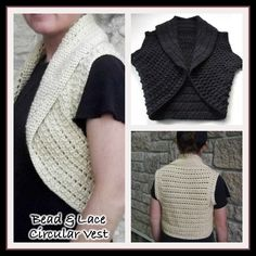 Free crochet pattern for a bead and lace circular vest. The crochet vest pattern is available in 3 different sizes including extra small, medium and large. ╭⊰✿Teresa Restegui http://www.pinterest.com/teretegui/✿⊱╮