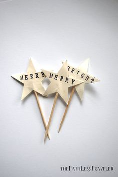 Merry and Bright Christmas Star Cupcake toppers, hand stamped vintage paper