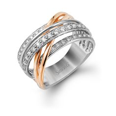 Rose gold and white gold Simonn G. right hand ring #JewelryDesignCenter