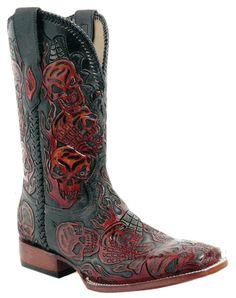 Men's cowboy boots with skulls on them | Men's Red River Cowboy ...