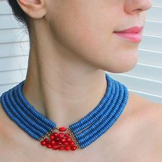 Ukrainian blue & red jewelry - Ukrainian jewelry - coral colar necklace - ethnic beaded necklace by Etnicas on Etsy https://www.etsy.com/uk/listing/243877927/ukrainian-blue-red-jewelry-ukrainian