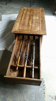 Coffee table hidden gun rack https://m.facebook.com/Robs-Wood-Works-825306734209004/