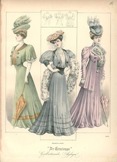 Outdoor dress and hats, 1906 the Netherlands, De Gracieuse