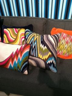 Bargello pillows from Jonathan Adler.