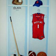 sports locker for kids room Sports Locker, Basketball Bedroom, Lockers, Kids Room, Room Decor, Tank Tops, Women, Fashion, Moda