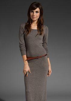 Cashmere Sllit Back Zip Dress