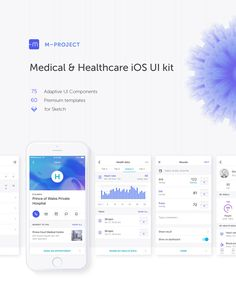 Medical & Healthcare iOS UI Kit.M Project contains more than 50 elaborate iOS screens and 80 adaptive UI components for sketch.