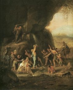 Jan Havicksz. Steen:  Moses Gets Water out of the Rocks  oil on panel, c. 1660