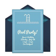 This pool-inspired free party invitation design is a seasonal favorite on Punchbowl. We love it as an invitation for Summer birthdays, pool parties, and more.