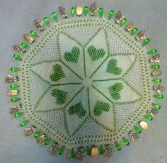 Beaded milk jar doilies Crochet Kitchen, Crochet Home, Diy Crochet, Crochet Ideas, Crochet Projects, Doilies Crochet, Beaded Crochet, Crochet Pillow, Lace Doilies