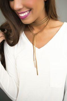 Gold Detail Wrap Choker- Gold - Dottie Couture Boutique
