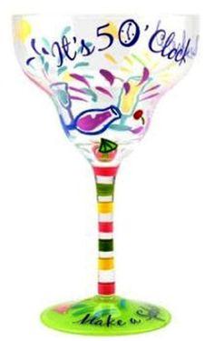 "Top Shelf Make A Splash"" Hand Painted Margarita Glass, 2015 Amazon Top Rated Margarita Glasses #Kitchen"
