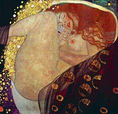 """Klimt: Danae. Como en el caso de """"El beso"""", Klimt elige el formato cuadrado típico de la Secession y el estilo preciosista, delicado y elegante de influencia orientalista que incluye el dorado, que en este caso cobra gran protagonismo por el tema, al tratarse de Dánae y la lluvia de oro. En este caso, Klimt trata el tema con gran erotismo y carnalidad."""