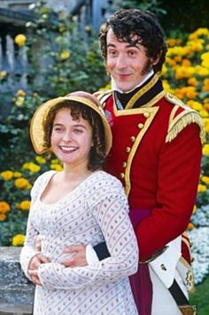 Julia Sawalha and Adrian Lukis as Lydia and Wickham