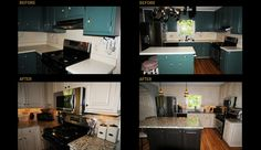From outdated painted cabinets to a antique white finish with glaze.  Island refinished to custom distressed finish.