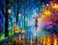 """Figura de la mujer - Misty Umbrella — cuchillo de paleta de colores óleo sobre lienzo por Leonid Afremov. Tamaño: 30 """"X 24"""" pulgadas (75 cm x 60 cm)"""