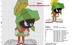 Free cross stitch pattern Marvin The Martian Looney Tunes uses back stitch