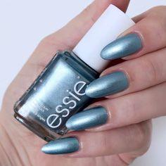Essie Galaxy Metals 'mercury in retrograde' Metallic Nails, Glitter Nail Art, Metallic Blue, Essie Nail Polish Colors, Nail Colors, Colours, Clear Nail Designs, Exotic Nails, Mirror Nails
