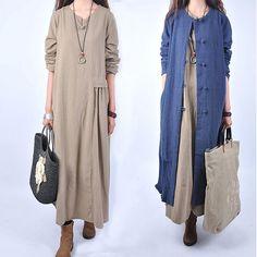 Хлопок и лен одежды длинная юбка лен толщиной весной одежды новой юбки женщины