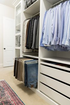 Check out our master walk-in closet makeover using IKEA PAX. By adding trim and giving it a built-in look we saved money and ended up with our dream closet.