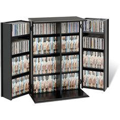 Eliminate clutter by keeping your CDs and DVDs in this handy media storage cabinet. The cabinet's attractive Shaker doors keep your collection private and safe from sticky fingers, and off-set hinges let it rotate 180 degrees for access and display.