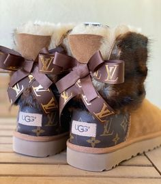 New ugg boots with Louis Vuitton repurposed material and real Cute Uggs, Cute Boots, Jordan Shoes Girls, Girls Shoes, Girls Ugg Boots, Louis Vuitton Heels, Louis Vuitton Slippers, Louis Vuitton Shoes Sneakers, Fluffy Shoes