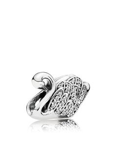Pandora Charm - Sterling Silver & Cubic Zirconia Majestic Swan, Moments Collection