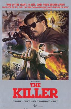 """Movie: """"The Killer"""" starring Chow Yun-Fat & director John Woo. most guns, bullets, bodies in a movie. influential on movies of Tarantino & Rodriguez. Best Action Movies, Good Movies, Action Films, Watch Movies, Internet Movies, Movies Online, John Woo, Hong Kong Movie, I Love Cinema"""