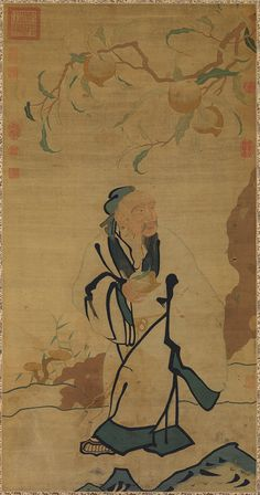 Tapestry with immortal holding a peach, Ming dynasty (1368–1644) China Silk tapestry (kesi)