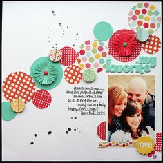 interesting line of circles across the page. Scrapbook Layout by Elizabeth Carney Baby Scrapbook, Scrapbook Paper Crafts, Scrapbook Cards, Scrapbook Photos, Circle Scrapbook, Scrapbook Layout Sketches, Scrapbooking Layouts, Project Life, Ideas Scrap