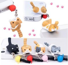 FREE Worldwide SHIPPING! $16.80 NOW $11.80 Playful Cat Smartphone Earphone Jack Dust & Water Cover/Plug This dangling Playful Cat earphone jack dust and water protecter cover will totally entertained all cat lovers out there all day long! See this cute little cat play with a ball of thread and playfully swinging when you are talking on the phone. Everyone will be amused by this cute little playful cat.  #discountvault