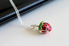 Strawberry shaped box necklace locket silver by everydayTrendy, $20.95