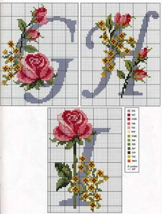 So pretty ~ cross stitch monogram alphabet with roses. Cross Stitch Alphabet Patterns, Cross Stitch Letters, Cross Stitch Rose, Cross Stitch Flowers, Cross Stitch Charts, Cross Stitch Designs, Cross Stitching, Cross Stitch Embroidery, Le Point
