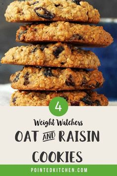 These Oat and Raisin Cookies are 4 SmartPoints per cookie on the Green, Blue and Freestyle plans. They are 3 SmartPoints on the Purple plan. A tasty Weight Watchers snack recipe that is quick and easy to make. #ww #weightwatchersrecipes #wwrecipes #wwsnacks #wwblueplan #wwgreenplan #wwpurpleplan