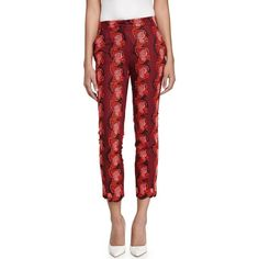 Stella Mccartney Floral Slim-Fit Ankle Pants ($599) ❤ liked on Polyvore featuring pants, capris, red, slim fit pants, woven pants, slim trousers, slim pants and ankle length jeans