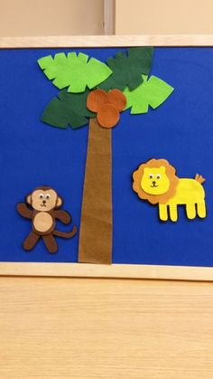 The itsy bitsy monkey climbed up the coconut tree. Down came a coconut and hit him on the knee -- OWWW! Out came a lion shaking his mighty mane & the itsy bitsy monkey went up the tree again. Flannel Board Stories, Felt Board Stories, Felt Stories, Flannel Boards, Activities For Kids, Crafts For Kids, Daycare Crafts, Daycare Ideas, Toddler Crafts