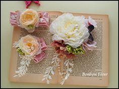 セミオーダー 卒園式・入学式用ペアコサージュ : Bonbon Fleur ~ Jours heureux コサージュ&和装髪飾り