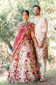 VB Wedding: What a pleasure creating outfits for both, the bride and the groom, and being part of their beautiful wedding! #varunbahl #VB #fashion #indianfashion #bride #bridal #floralred #bridallehenga  #varunbahlcouture #clientdiaries #floral  #hautecouture #indiandesigner #lehenga #elegant #sangeetoutfit #chic #indianweddings #weddingseason #musthave #clientdiaries #bride #floralgown #ivory #dreamy #couplephoto #sherwani #menswear