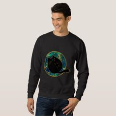 Funny Black Chubby Cat Sweatshirt - black gifts unique cool diy customize personalize