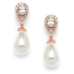 Mariell CZ Pear Bridal Earrings with Bold Soft Cream Pearl Drops 4516EC-I-RG