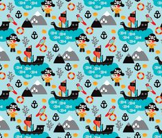 Pirates and parrot ocean kids print fabric by littlesmilemakers on Spoonflower - custom fabric