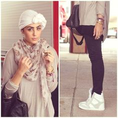 wedge sneakers with turban look, Funky hijab style by Asia Akf http://www.justtrendygirls.com/funky-hijab-style-by-asia-akf/