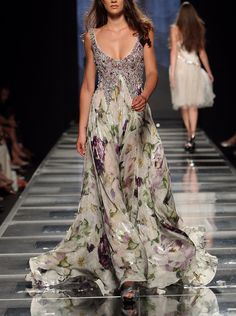 Tony Ward, Phenomenal floral printed silk chiffon gown