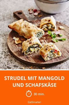 Strudel mit Mangold und Schafskäse Strudel with chard and feta cheese - smarter - time: 30 min. Whole30 Recipes Lunch, Crockpot Recipes, Vegetarian Recipes, Cheese Pierogi Recipe, Cooking Whole Chicken, Easy Whole 30 Recipes, Avocado Salad Recipes, Grilled Sausage, Queso Feta