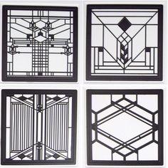 Hindostone Products-CoasterStone FWAS600 Frank Lloyd Wright Art Glass II Metal Insert Absorbent Coasters